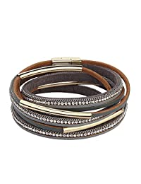 COOLLA Women Genuine Leather Bracelet Wrap Crystal Bracelet Magnet Buckle