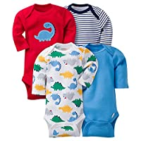 Gerber Baby Boys' 4 Pack Long Sleeve Onesies - Dinosaur