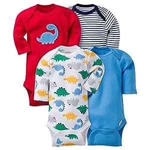 Gerber Baby Boys' 4 Pack Long Sleeve Onesies - Dinosaur