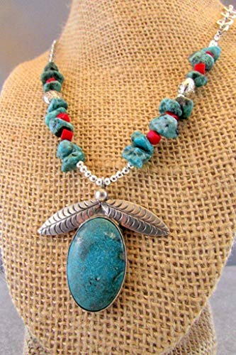 abochon in Sterling Silver Setting, Turquoise Nuggets and Coral Cubes Necklace ()