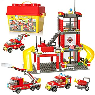 City Fire Station Fire Truck Building Blocks Fire Engine Vehicles Building Set Fire Fighter Building Kit Construction Play Set Education Toys Building Bricks Gifts for Boys Girls 6-12 (788 Pieces)
