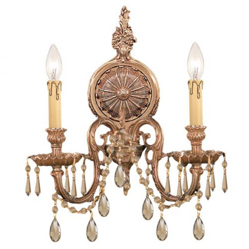 Olde Cast Brass Crystal (Crystorama 2802-OB-GT-MWP Crystal Accents Two Light Wall Sconce from Cast Brass Wall Mount collection in Brassfinish, 4.00 inches)