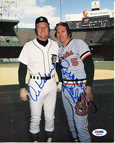 1980 World Series Mvp (AL KALINE BROOKS ROBINSON Rare Dual Signed 8x10 Photograph PSA/DNA Authentic Auto Photo Detroit Tigers Baltimore Orioles MVP World Series Champions All-Star 1980 & 1983 Hall of Fame Member)
