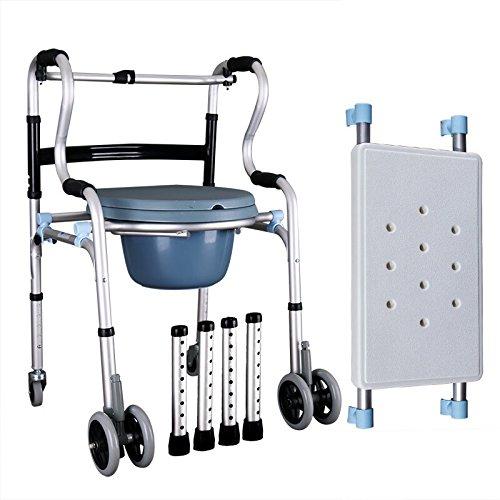 毎日 多機能ウォーカー/高度なウォーカー/ウォーカーアルミウォーカー調節可能な高さ折りたたみ式スタンド(ウィーラー+ 4輪+バスボード+トイレ) B07D46R7VS