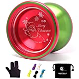 MAGICYOYO YoYo Unresponsive Shark Honor N12 Red and Green Yoyo Finger Spin Yoyo with Three Finger Glove+5 Yoyo Strings+Yoyo Sack