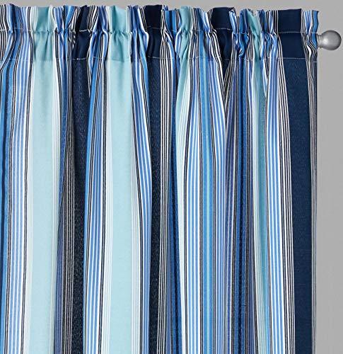 Waverly Drapery Panel - Traditions By Waverly Lover's Lane Stripe Rod-Pocket Window Drapery Curtain Panel Pair, 2-Panels (84