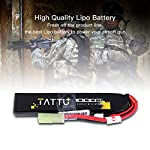 TATTU 7.4V LiPo Airsoft Stick Battery,1000mAh 25C 2S Battery Pack Airsoft Gun Mini Tamiya Connector