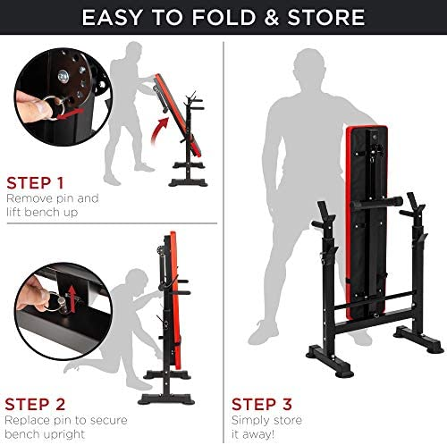 Best Choice Products Adjustable Folding Fitness Barbell Rack & Weight Bench Set for Home Gym, Strength Training w/Incline & Decline Capability, Padded Faux Leather, Easy Storage - Black/Red 5