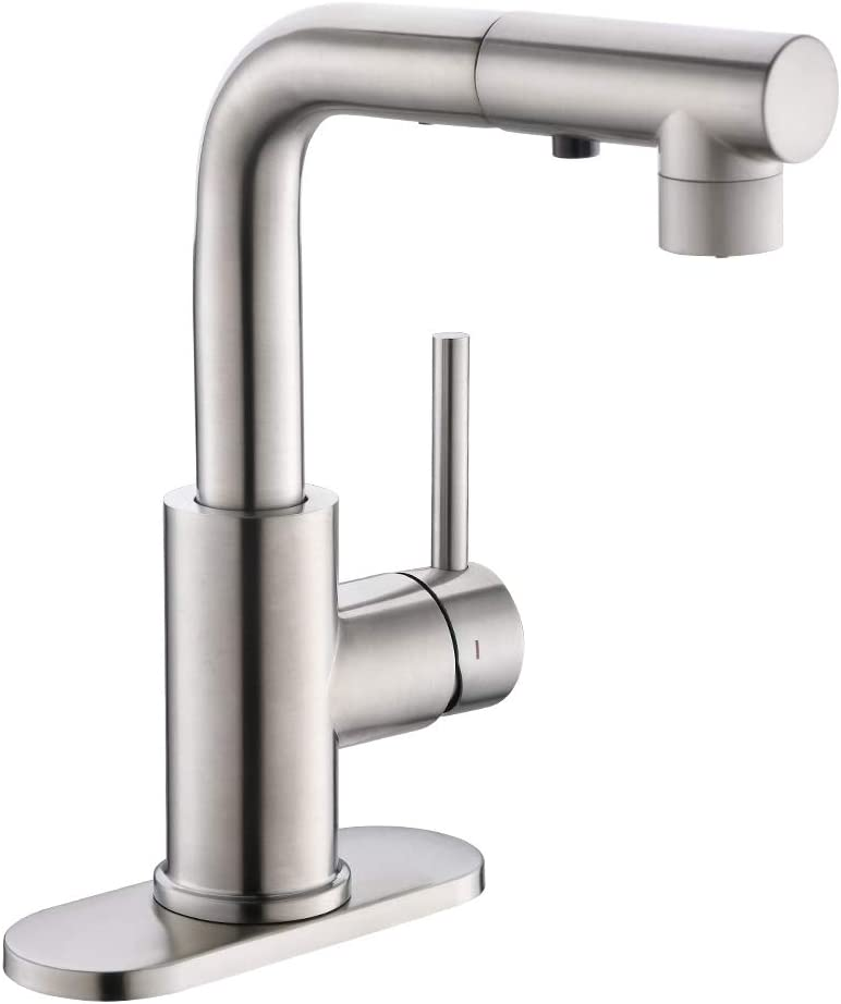 Bar & Prep Sink Faucet with Magnetic Docking Sprayer, Pull Out Bathroom Faucet in Brush Nickel, Wet & Mini Bar Faucet - -