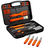 BBQ Grill Tools Set with 22 Barbecue Accessories - Includes 4 Steak Knives - Stainless Steel Utensils with Wood Handles - Complete Outdoor Grilling Kit