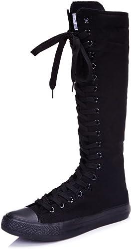 Punk Knee High Canvas Sneaker Boot
