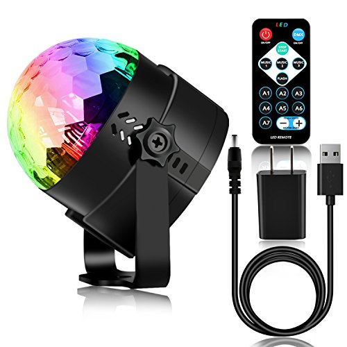 Spriak Disco Ball Party Lights 3rd Generation Strobe Light 3W DJ Dance Lights Sound Activated Portable Stage Light for Xmas Halloween Kids Birthday Party (with USB) - Christmas Strobe Lights