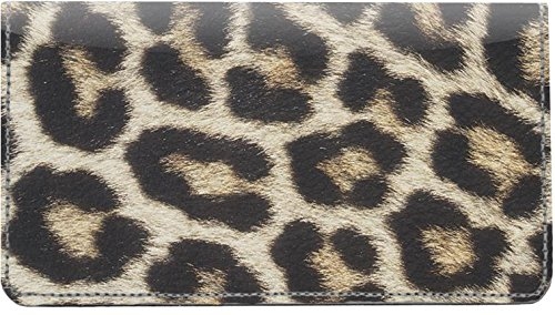 (Leopard Print Leather Checkbook Cover )