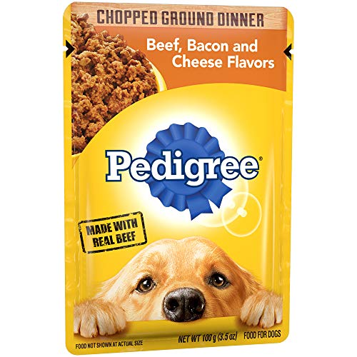 Pedigree Chopped Ground Dinner Beef, Bacon And Cheese Flavors Adult Wet Dog Food, (16) 3.5 Oz. Pouches