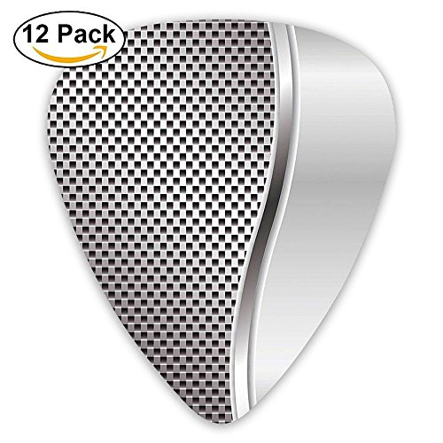Newfood Ss Metal Background With Square Shaped Grid Speaker Featured Industrial Iron Guitar Picks 12/Pack Set
