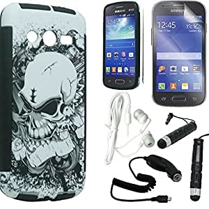 [STOP&ACCESSORIZE] WHITE BLACK SKULL DUAL LAYER SNAP ON COVER THIN RUBBER PLASTIC CASE for SAMSUNG GALAXY AVANT G386 + FREE ACCESSORY KIT