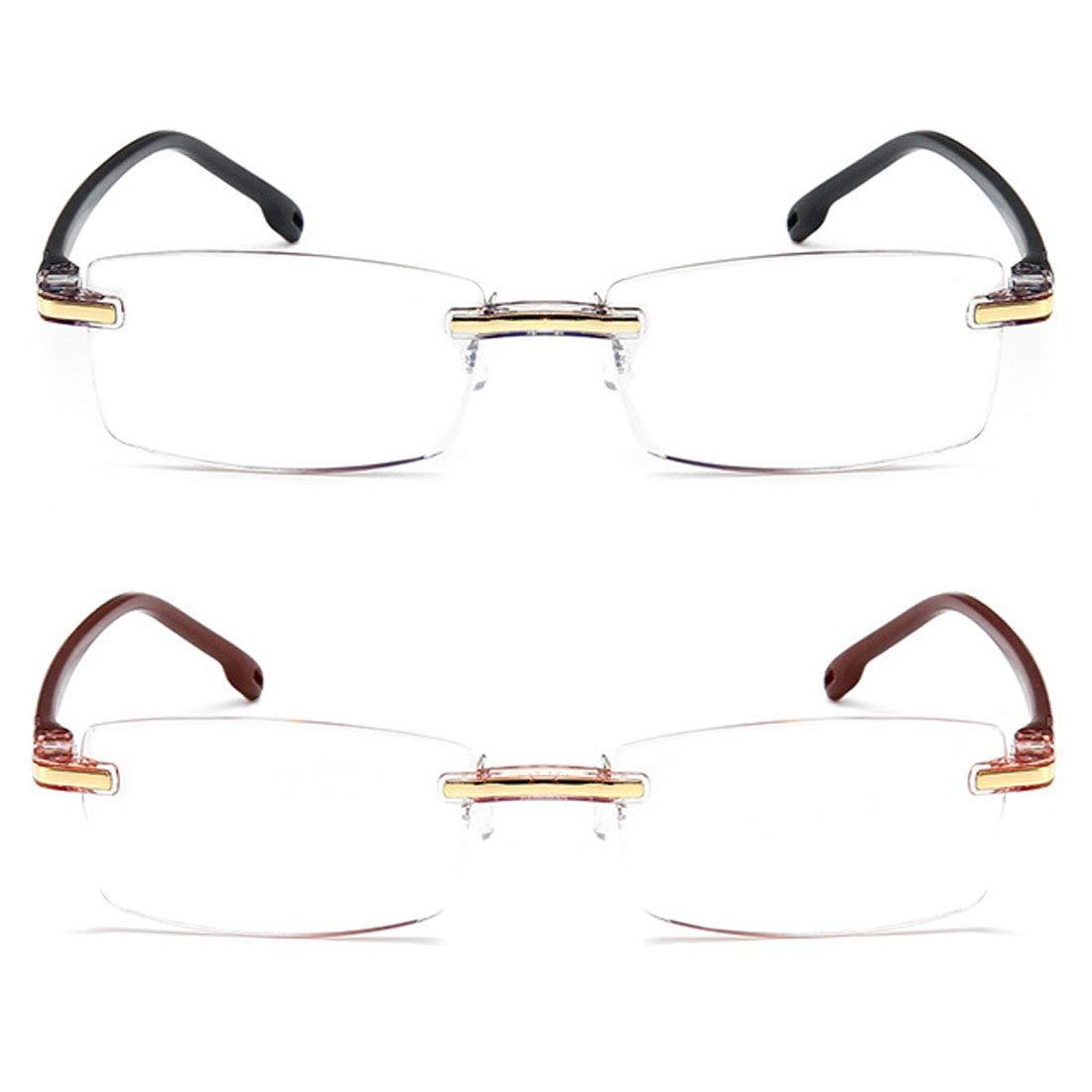 Inlefen 2 paquetes Sin marco Gafas de lectura Hombres y mujeres Rectangular Gafas Lector de computadora Bloqueo de luz azul +1.0: Amazon.es: Ropa y ...