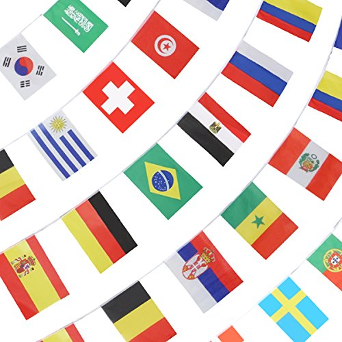 Anley String Flag for 2018 World Cup, Group Match 32 Teams Countries Soccer Decoration Banners for Restaurants, Sport Bars, Game Night - 33 Feet 32 Flags