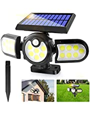 Solar Lights Outdoor,2 in1 Solar Powered In-Ground Spotlight with 140 COB LED Automatic Motion Sensor,360 °Rotable Waterproof Wall Mount Security Light for Porch Garden Garage Pathway Yard Patio Path