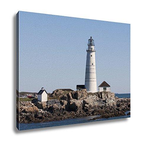 Boston Harbor Lighthouse - Ashley Canvas, Historic Boston Harbor Lighthouse On A Summer Day, 24x30