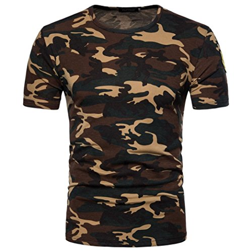 Bluestercool Hommes Casual Camouflage Imprimé Manches Courtes Col Rond T-Shirt Tops Jaune
