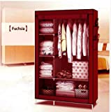 GTC 4+1+1 Layer Fancy And Portable Foldable Closet Multipurpose Wardrobe (Need To Be Assembled) 105Nt (Maroon)