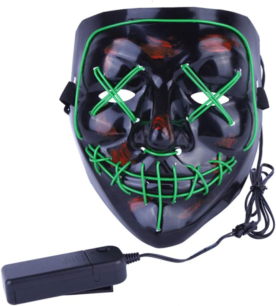 Christmas Mask LED Light up Purge Mask Frightening Wire Cosplay for Christmas Festival Parties Costume