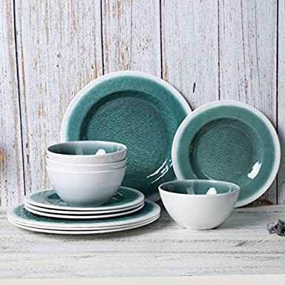 "Melamine Dinnerware Set - 12pcs Dishes Dinnerware Set for Everyday Use, Service for 4, Unbreakable,BPA Free,Dishwasher safe - This 12pcs melamine dinnerware set for mother's day includes: 4pcs 5 3/4"" 22oz salad soup bowls, 4pcs 9 inch dessert plates, 4pcs 11 inch dinner plates. This dishes set pack into a reusable box, great gift for family and friends, You will get lots of compliments when they see this plates set. If you have limit cabinet space, choose this melamine dinnerware, their shaped offers a conveniently stackable design, save space for your RV or kitchen cabinet. - kitchen-tabletop, kitchen-dining-room, dinnerware-sets - 51SyNX7Bs6L. SS400  -"