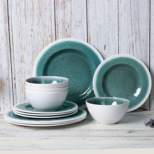 Melamine Dinnerware Set - 12pcs Dishes Dinnerware Set for Everyday Use, Service for 4, Dishwasher safe (Best Dishes For Everyday Use)