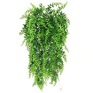 Lanldc 2 pcs Faux Hanging Boston Ferns Vine Fern Persian Rattan Fake Hanging Plant for DIY Wall Home Garden Hanging Basket Decor 32