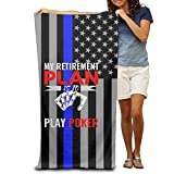 JF-X Poker Thin Blue Line Adult Beach Towel Funny Bath Towels For Swimming