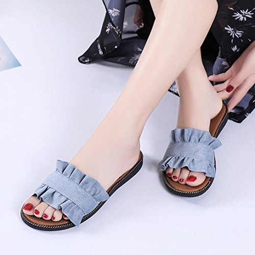 Lolittas Womens Ladies Outdoor Wedge Slippers Sandals Size 2-7 ,Summer Beach Boho Non Slip Comfortable Open Toe Wide Fit Cushioned Espadrille Shoes Blue bDCY08FMeN