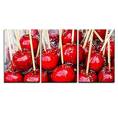 3 Piece Canvas Wall Art - Sweet Glazed Red Toffee Candy Apples on Sticks for Sale on Farmer Market or Country Fair - Modern Home Art