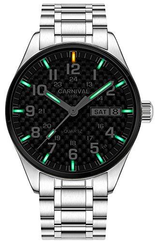 Men's Quartz Watch Steel Band Military Blue or Green Super Bright Night Luminous (Green Light Carbon Fiber Face)