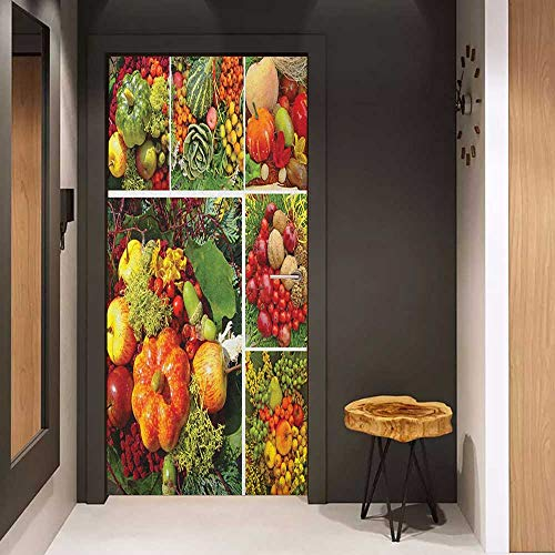 Onefzc Door Wall Sticker Harvest Photograph of Products from Various Gardens and Fields Seasonal Foods Apple Walnuts Mural Wallpaper W36 x H79 Multicolor (Walnut Hillary)