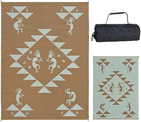 Reversible Mats 169127 Brown Beige 9-Feet x 12-Feet Kokopelli Mat