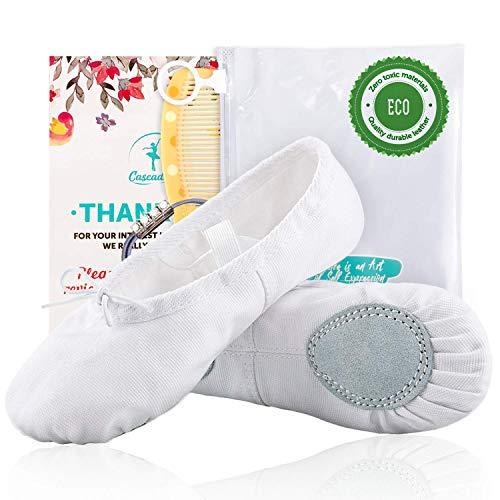 Cascadella Ballet Shoes - Ultra Comfortable Ballerina Flats for Girls & Kids (10, White)