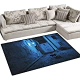 Urban,Rug,Black Cat Crossing Deserted Street at Night Mysterious Old European Town Alley,Area Carpet,Blue Black White Size:36'x60'