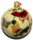 Hand Painted Glass Ornament, Yellow with Butterflies CO-148