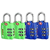 Forge TSA Locks 4 Pack Blue and Green - Open Alert Indicator, Easy Read Dials, Alloy Body