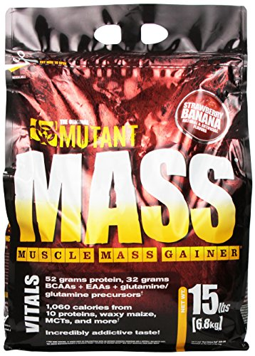 Mutant Mass – Award Winning Weight Gainer Featuring A 10 Whey, Casein, And Egg Protein Blend In Delicious Gourmet Flavors - Strawberry Banana Flavor