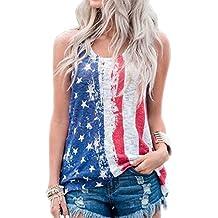 LUKYCILD Women America Flag Star Striped Print Top Summer Sleeveless Tank Top Vest