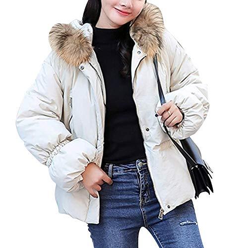 Fausse White Home color Women Femmes Xl Rembourrés Jacket Size Yellow Capuche Fourrure Pour Manteaux Courts En À 85aw5