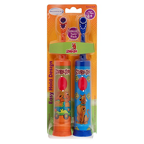 Brushpoint Twin Pack Battery Power Toothbrush, Scooby Doo, Blue – Orange