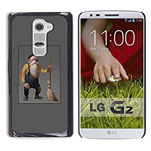 Ihec Tech Viejo hombre enano gnomo gris Barba Broom / Funda Case back Cover guard / for LG G2