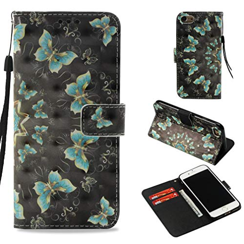 (iPhone 7 Case, iPhone 8 Case,Pu Leather 3D Printing Card Holder Full Protective Anti-Scratch with Magnetic Closure Wrist Strap Kickstand Flip Case for Apple iPhone 7/iPhone 8 -Mint Green Butterfly)