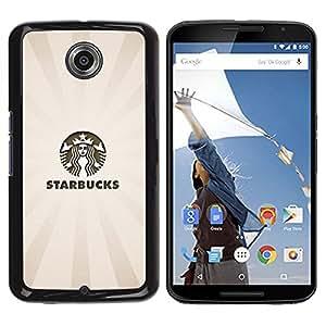 TopCaseStore / la caja del caucho duro de la cubierta de protección de la piel - Coffee Bucks Beige Pastel Logo - Motorola NEXUS 6 / X / Moto X Pro