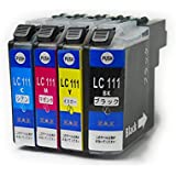 LC111-4PK 4色セット (合計4個) ICチップ付き BROTHER 互換インク 残量表示可能 ( LC111BK 、 LC111C 、 LC111M 、 LC111Y ) [ ZAZ ] FFPパッケージ(X)