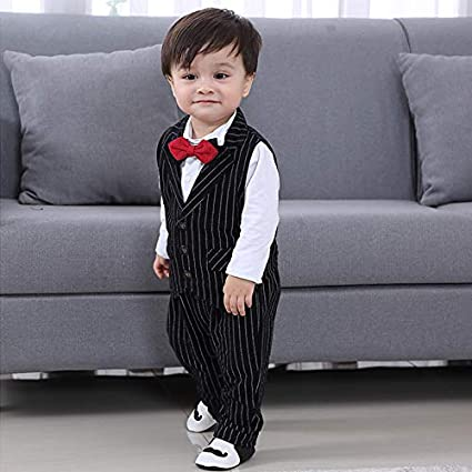Lausana Baby Boy Suit,Long Sleeve Jumpsuit,Vest,Bow Tie,Infant Boy Gentleman Outfits Sets for Formal Occassion 0-24 Months