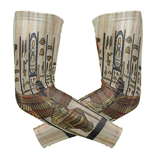 (Arm Sleeves Ancient Egyptian Parchment Mens Sun UV Protection Sleeves Arm Warmers Cool Long Set Covers)
